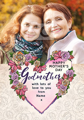 Godmother Photo Upload Mother's Day Card - Rosa