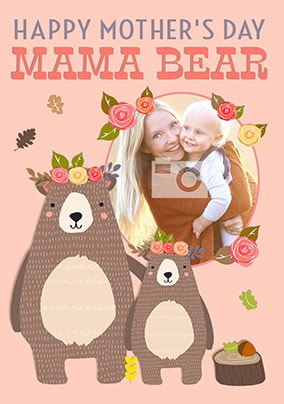 Mama Bear Girls Photo Mother's Day Card
