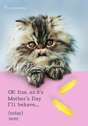 Furry Cat, behave On Mother's Day Personalised Card