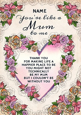 Like A Mum To Me Personalised Card