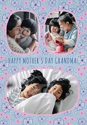 Grandma Mother's Day Floral Photo Card