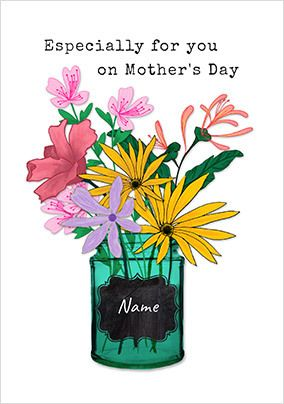 For You on Mother's Day  Flowers Personalised Card
