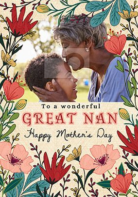 Great Nan Floral Photo Mother's Day Card