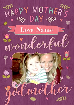 Happy Mother's Day Wonderful Godmother Photo Card
