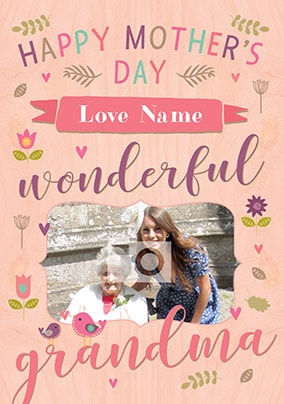 Happy Mother's Day Wonderful Grandma Photo Card