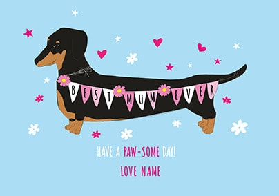 Best Mum Ever Sausage Dog Personalised Card