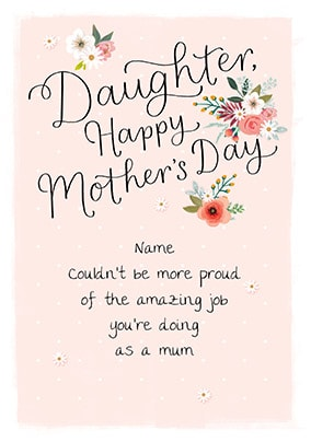 Daughter - Happy Mother's Day Personalised Card