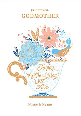 Godmother Teacup Mother's Day Personalised Card
