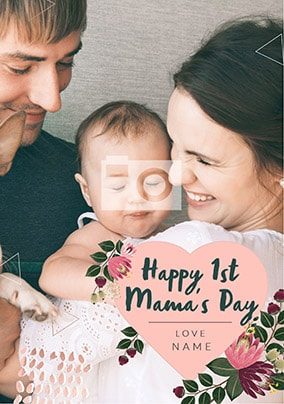 Happy 1st Mother's Day Young Hearts Photo Card