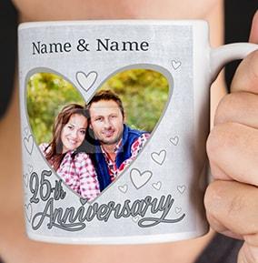 Personalised Mug 25th Wedding Anniversary Photo Upload