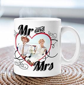 Mr Mrs Heart Photo Upload Personalised Wedding Mug