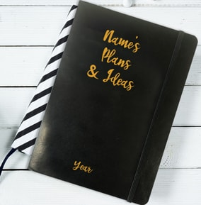 Plans  Ideas Personalised Leather Effect Notebook