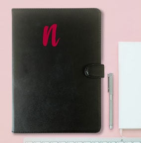Large Initial Personalised Leather Notebook