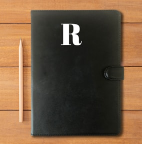 Large Initial Leather Personalised Notebook