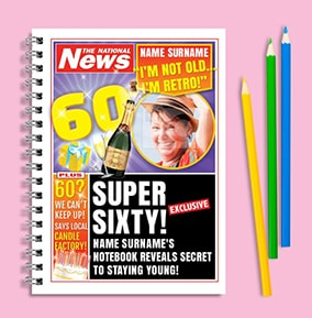 Funny 60th Birthday Personalised Newspaper Notebook
