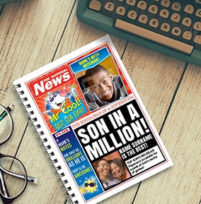 Funny Son in a Million Personalised Newspaper Notebook
