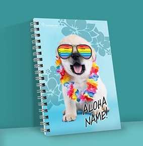 Cute Puppy Personalised Notebook Rainbow Shades