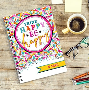 Think Happy Colourful Personalised Notebook