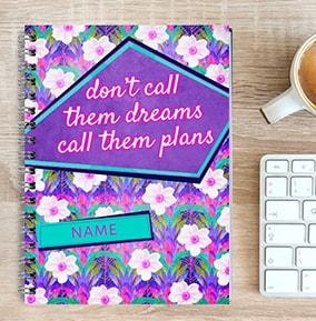 Personalised Inspiration Notebook Call Dreams Plans