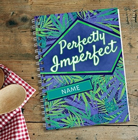 Perfectly Imperfect Personalised Notebook Green  Blue