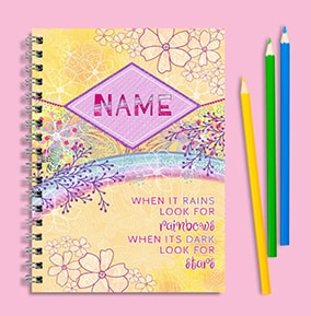 Look For Rainbows Personalised Inspirational Notebook