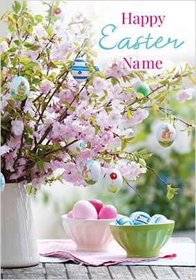 Happy Easter Flowers and Eggs Personalised Card