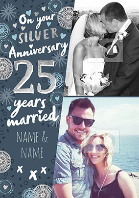 25 Years Married photo Anniversary Card