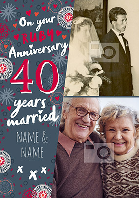 40 Years Married photo Anniversary Card