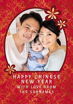 Happy Chinese New Year Floral Photo Card