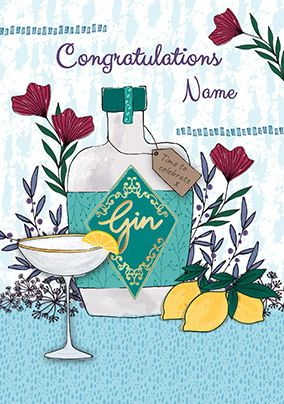Congratulations Gin Personalised Card