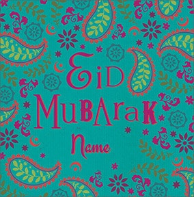 Eid Mubarak Paisley Personalised Card