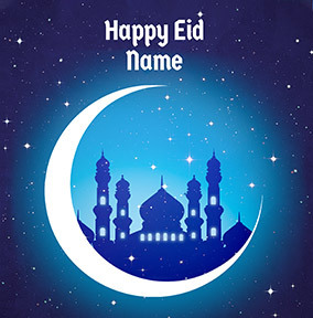 Happy Eid Crescent Moon Card