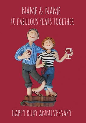 40 Years - Ruby Anniversary Personalised Card