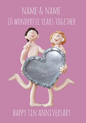 10 Years - Tin Anniversary Personalised Card