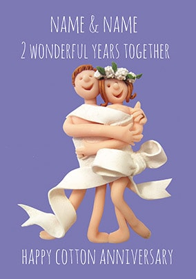 2 Years - Cotton Anniversary Personalised Card