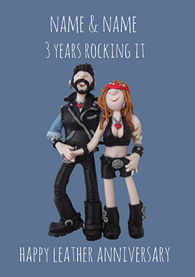 3 Years - Leather Anniversary Personalised Card