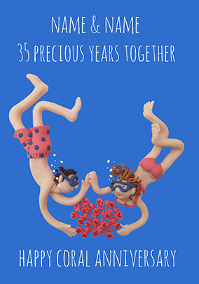 35 Years - Coral Anniversary Personalised Card