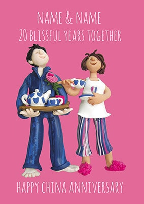20 Years - China Anniversary Personalised Card