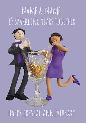 15 Years - Crystal Anniversary Personalised Card