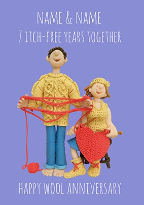7 Years - Wool Anniversary Personalised Card