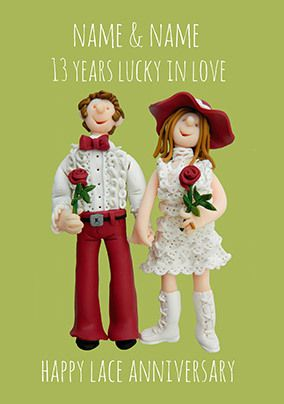 13 Years - Lace Anniversary Personalised Card