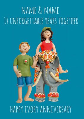 14 Years - Ivory Anniversary Personalised Card
