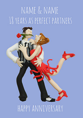 18 Years - Perfect Partners Anniversary Personalised Card