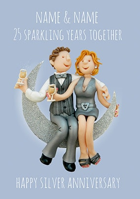 25 Years - Silver Anniversary Personalised Card