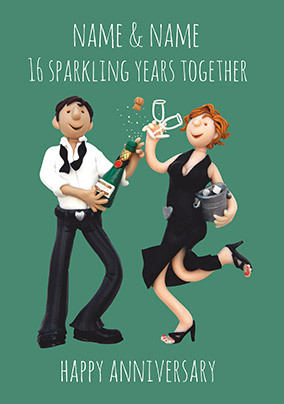 16 Years - Sparkling Anniversary Personalised Card