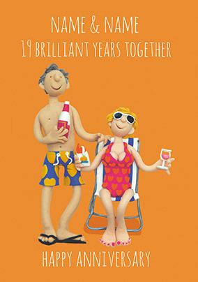 19 Years - Brilliant Anniversary Personalised Card