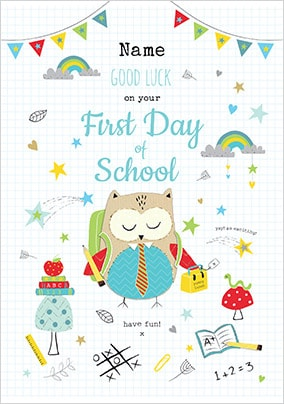 First Day At School Boy Personalised Card