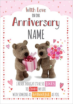 Barley Bear - On Our Anniversary Personalised Card