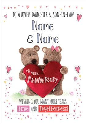 Barley Bear - Daughter & Son-In-Law Anniversary Personalised Card