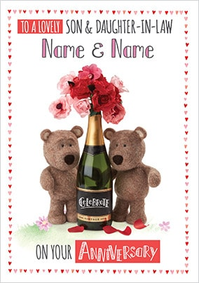 Barley Bear - Son & Daughter-In-Law Personalised Card